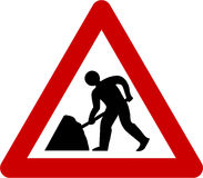 Warning sign with road works. Symbol Stock Photos
