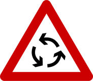 Warning sign with roundabout Royalty Free Stock Photography