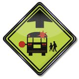 Warning sign school bus. And public transportation Stock Images