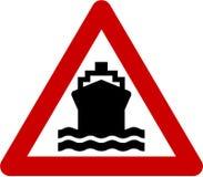 Warning sign with ship symbol Stock Photo