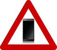 Warning sign with smartphones. Symbol Stock Image
