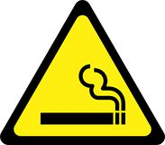 Warning sign with smoking royalty free illustration