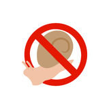 Warning sign with snail icon, isometric 3d style Royalty Free Stock Photos