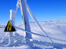 Warning sign in snow. Danger of falling or death sign in snowy Winter landscape Royalty Free Stock Photos
