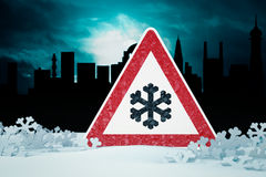 Warning Sign in Snow Royalty Free Stock Photo