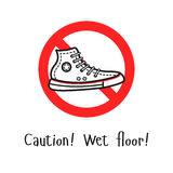 The warning sign with the sport shoe in the center. And the caution text. Caution wet floor illustration vector illustration