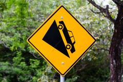Warning sign steep slope Royalty Free Stock Photos