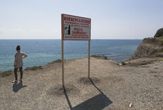Warning sign on steeper Tolstoy Cape resort of Gelendzhik Stock Photos
