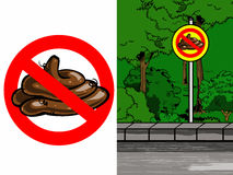 Warning sign - Stop feces Royalty Free Stock Photos