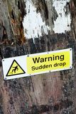 Warning sign for sudden drop Royalty Free Stock Images