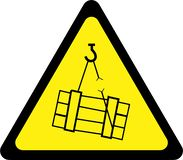 Warning sign with suspended loads stock illustration