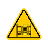 Warning sign symbol with barbed wire fence. Note border on road. Royalty Free Stock Image