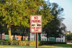 Warning Sign: There is no on-site parking subject to towing