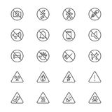 Warning sign thin icons. Simple, Clear and sharp. Easy to resize Royalty Free Stock Photo