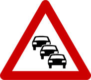 Warning sign with traffic queue Royalty Free Stock Image