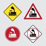 Warning sign traffic railway Stock Photography