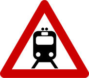 Warning sign with train Royalty Free Stock Images