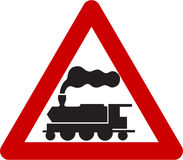 Warning sign with train Royalty Free Stock Image