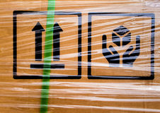 Warning sign on the transportation box Stock Images