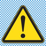Warning sign, triangle yellow sign with exlamation mark. Vector illustration royalty free illustration