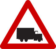 Warning sign with truck Stock Photos
