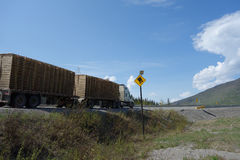Warning sign for trucks on a mountain highway Stock Image