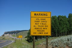 A warning sign for trucks and other big rigs in wyoming. Royalty Free Stock Photos