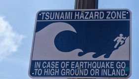 Warning Sign--Tsunami Hazard Zone Stock Image