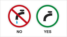 Warning sign. turn off the faucet. Sign, icon about saving water. keep the faucet closed stock illustration