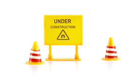 Warning sign under construction Stock Image