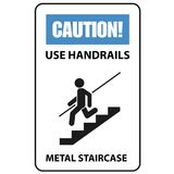 Warning sign - use handrails to avoid a fall, stairway. Caution vector illustration
