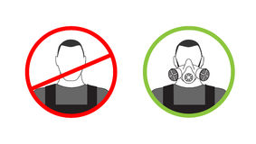 Warning sign on the use of personal protective equipment Stock Photos