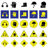 Warning sign of using head and face protection tools Royalty Free Stock Images