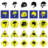 Warning sign of using variety of helmet Royalty Free Stock Images