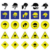 Warning sign of using variety of helmet Stock Photos