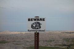 A warning sign for visitors in south dakota Stock Photography