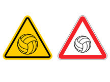 Warning sign volleyball attention. Dangers yellow sign game. Bal Royalty Free Stock Photography
