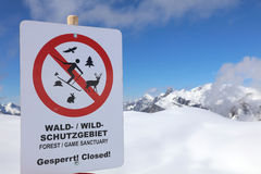 Warning Sign in Vorarlberg Stock Photography