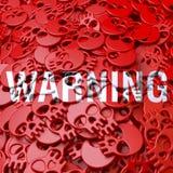 Warning sign Warning, white, red skulls Stock Photos