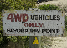 Warning sign about 4WD vehicles Stock Photos