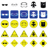 Warning sign for wearing the eyes protection accessories vector Royalty Free Stock Image