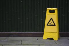 Warning sign for wet floor Royalty Free Stock Image