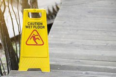 Warning sign for wet floor Royalty Free Stock Images