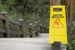 Warning sign for wet floor Stock Photo