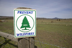 Warning sign about wildfires Stock Photo