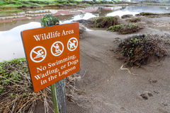 Warning sign with wildlife area restrictions by water Stock Images