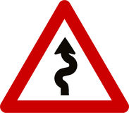 Warning sign with winding road Royalty Free Stock Image