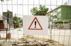 Warning Sign On Wired Fence Royalty Free Stock Photography