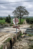 Warning sign worn of level crossing without barriers Royalty Free Stock Images