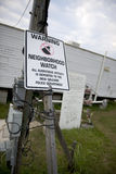 Warning sign in yard after Hurricane Katrina Royalty Free Stock Photography